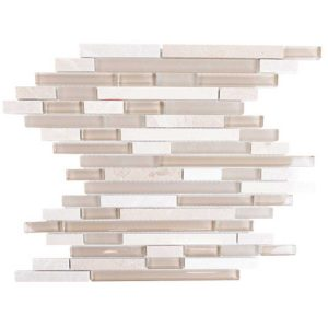 Daltile Linen Crema Linen Cream 12-in x 15-in Glass Mosaic Backsplash