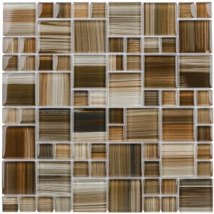 Elida Ceramica Dark Straw Brush Strokes Cubes Mosaic Glass Wall Tile
