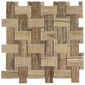 Elida Ceramica Wooden 12-in x 12-in Glazed Porcelain Basketweave Mosaic Wall Tile