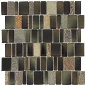 Elida Ceramica Blended Monarch Staggered 12-in x 12-in Multi-Finish Glass/Stone Slate Mosaic Wall Tile