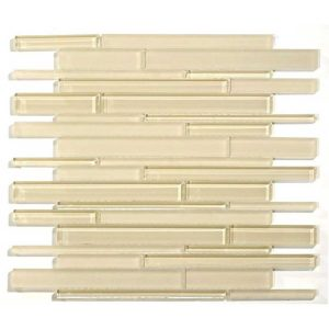 Glazzio Tiles Cane Series Solid Cream CN-29 Glass Mosaic Backsplash