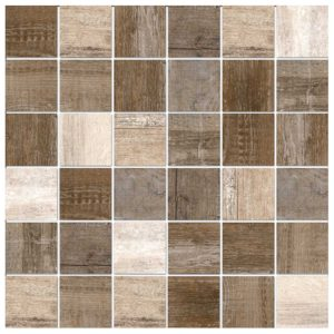Colorker Retro Nature 12-in x 12-in Block Wood Look Mosaic Backsplash