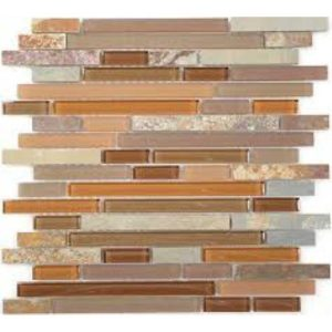 Glazzio Tiles Glass & Slate Series Hillcrest Tan GS04 Mosaic Backsplash
