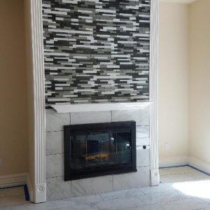 Elida Ceramica Black Diamonds Mosaic Backsplash Fireplace