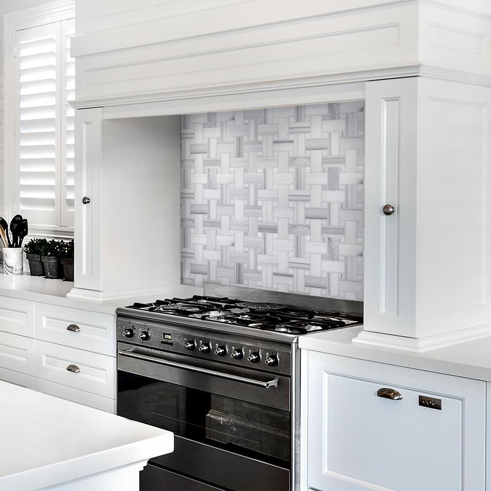 - Camden White Basket Weave 12 In. X 12 In. X 10 Mm Honed Marble
