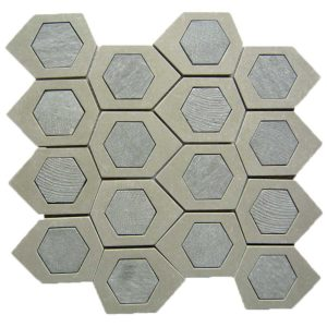 Bati Orient Stone Hexagon Irregular Beige Grey Stone Mix MAMI145 12.5-in x 11.5-in Mosaic Backsplash