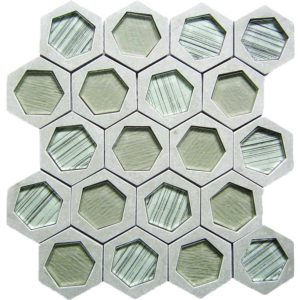 Bati Orient Stone Hexagon Irregular Grey Stone Glass Mix 12.5-in x 11.5-in Mosaic Backsplash